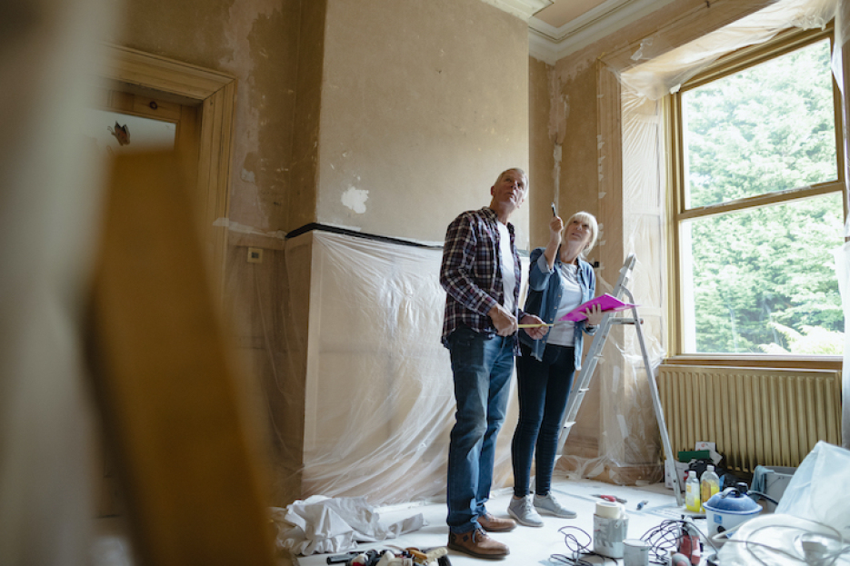 Older Couple Looking At Their Renovations